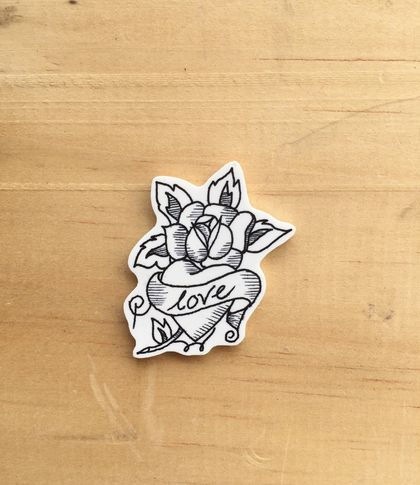 Rose Love illustrated brooch