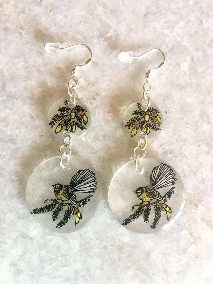 Fantail in Kowhai Drop Earrings
