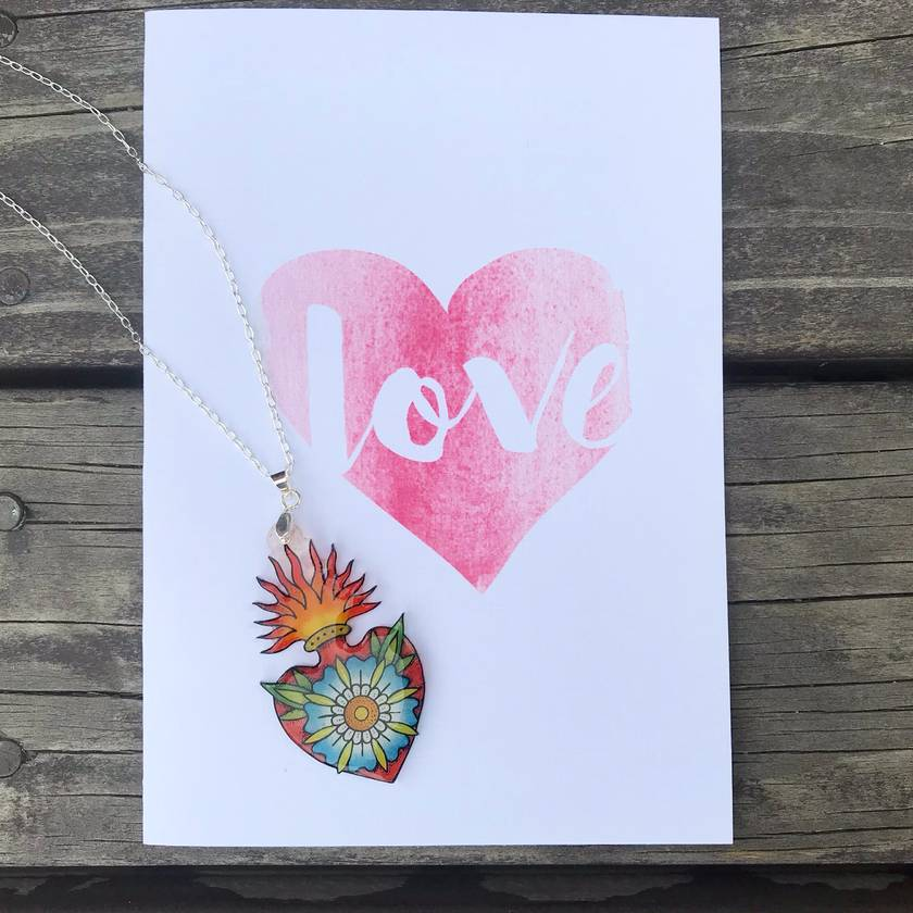 Sacred Heart Silver Necklace