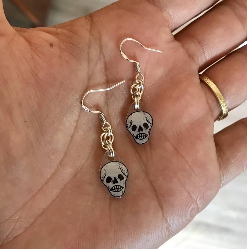 MINI Skull sterling silver earrings