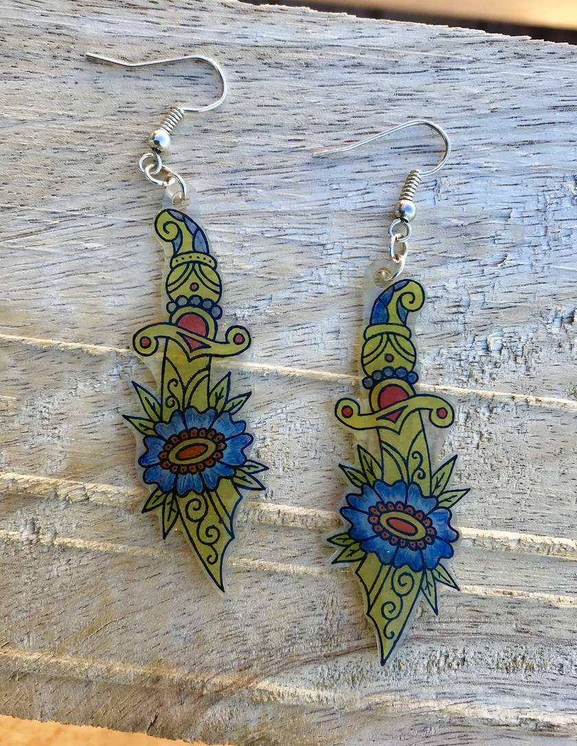 Flower and Dagger Earrings