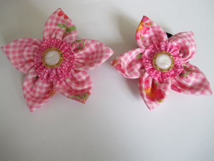 Two matching hand-made flower hair ties