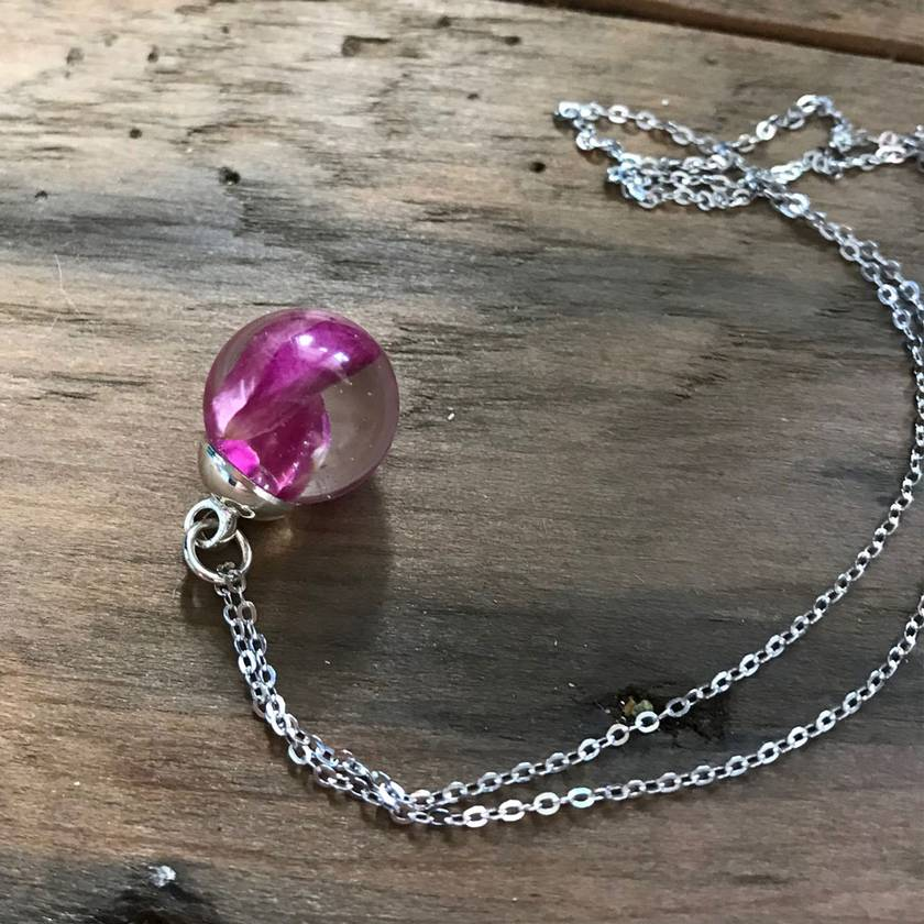 Real Flower Pendant   Pink Rose Petals in Eco-Friendly Resin with Sterling Silver Chain