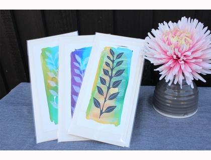 A set of handprinted cards (9cm x 21cm), each an individual print.