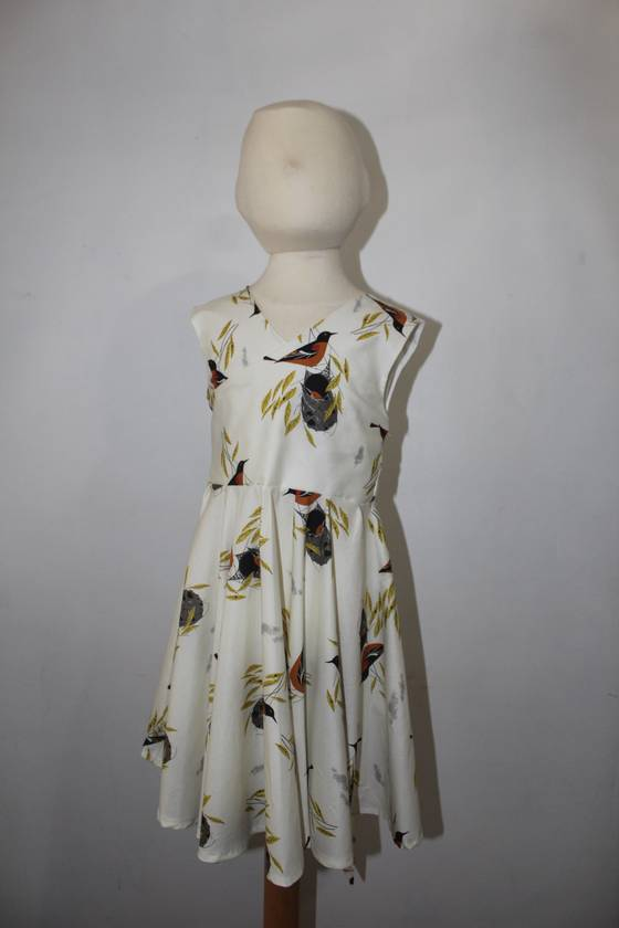 Organic Cotton BIRDS Dressy Dress 2 Years Handmade in NZ