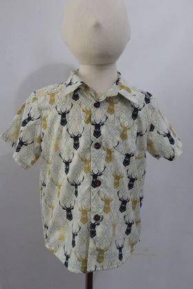 Organic Cotton STAG HEADS Short-sleeved Shirt 4 Years Handmade in NZ