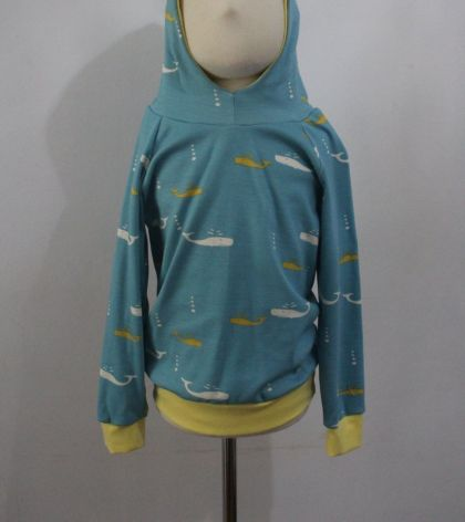ORGANIC hoodie with whales 3/4 years