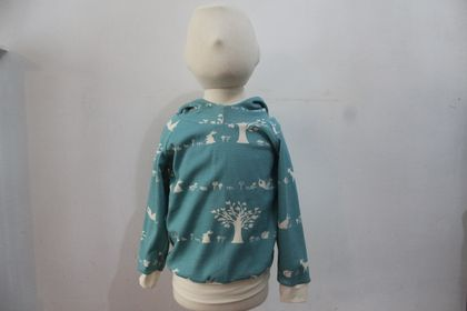 ORGANIC hoodie with forest animals 9-12 months