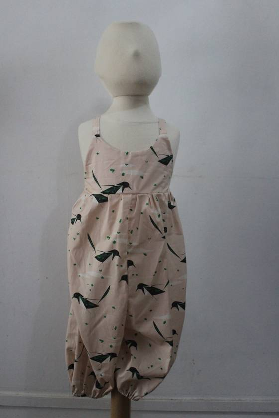 ORGANIC Pantsuit Pink with Black Birds 4 Years