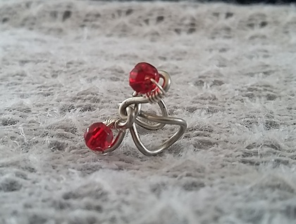 Lovely twisted wire ear cuff with red beads