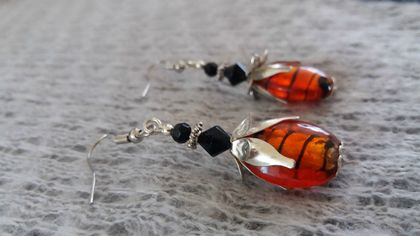 Orange foil bead earrings