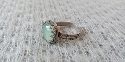Sterling silver and chalcedony statement ring