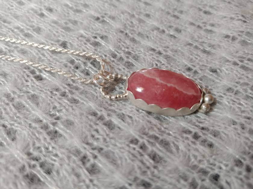 Sterling silver and rhodocrosite necklace