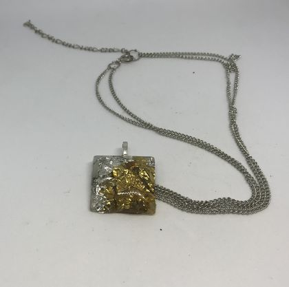 Silver and gold leaf necklace
