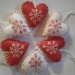 Hand Embroidered Red and White Felt Hearts