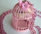 Unique And Whimsical Necklace - Pink Birdcage