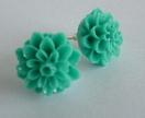Turquoise Green Chrysanthemum Stud Earrings