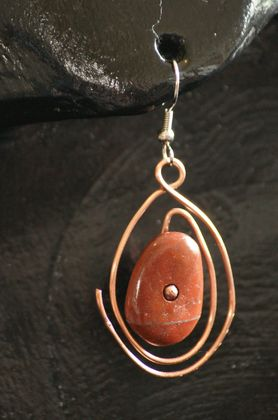 Jasper Copper Wire Earrings