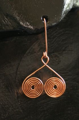 Copper Wire Spiral Earrings