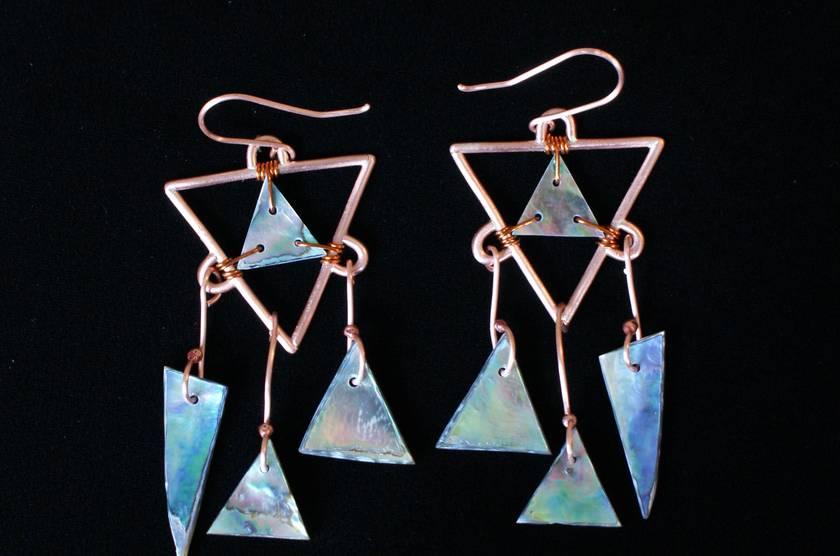 Paua Copper Earrings