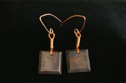Beech and copper wire earrings