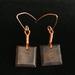 Beech and copper wire earrings