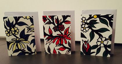 GIFT CARD SET - WILLIAM MORRIS INSPIRED FLOWER PATTERN - SET OF 6 CARDS