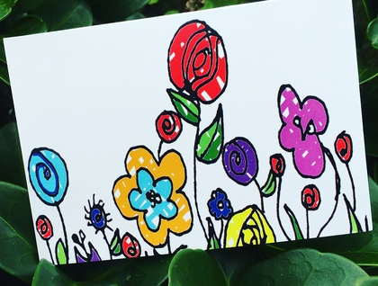 GIFT CARD SET - FUN AND QUIRKY FLOWER CARDS - SET OF 6 CARDS