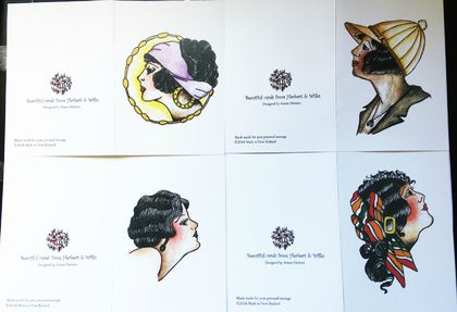 FLASH ART - MID CENTURY IMAGES SET OF 6 CARDS - GREETING CARD SET