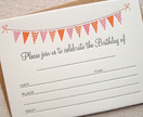 Letterpress Birthday Invitations | Bunting (Pink/Orange)