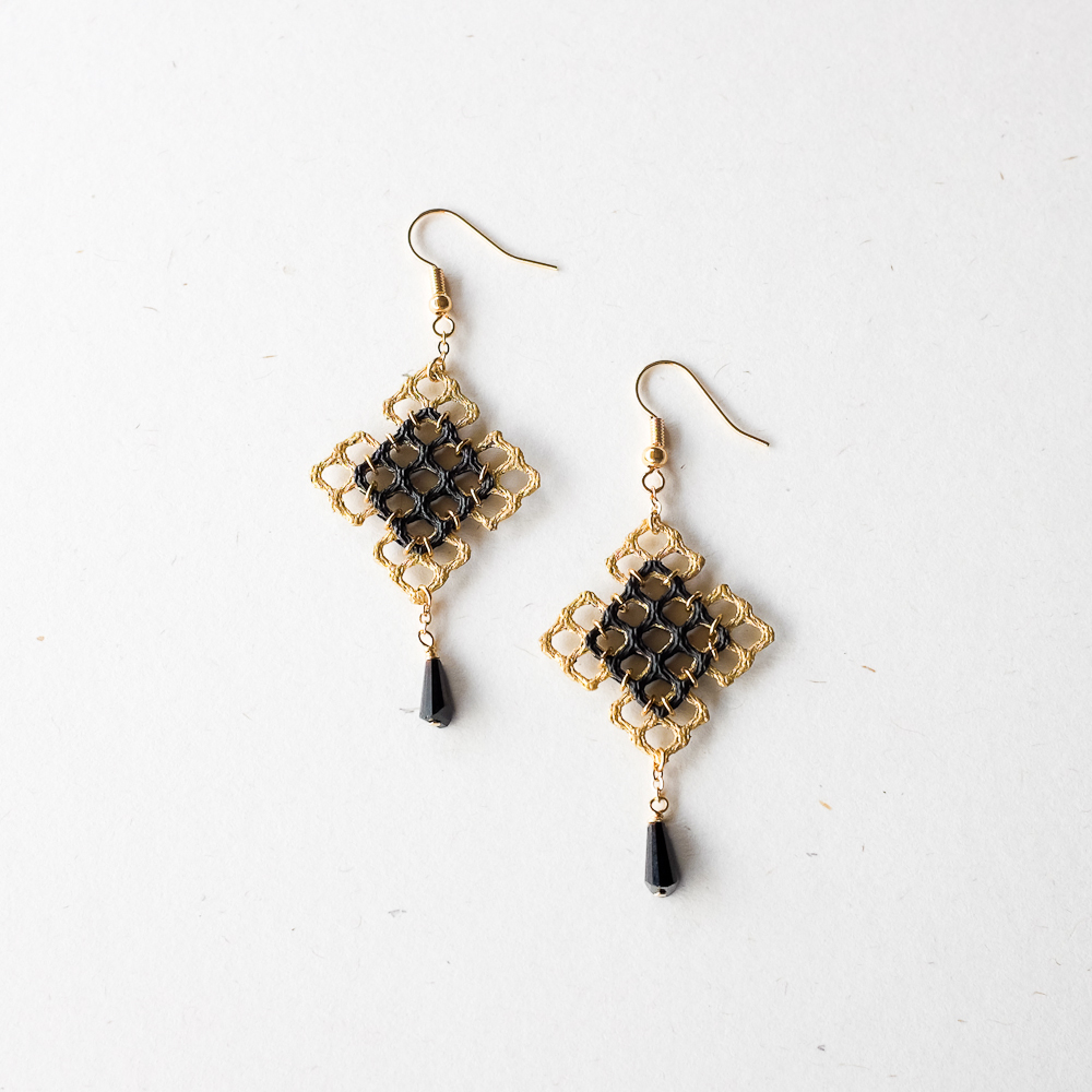 gold black drop earrings felt