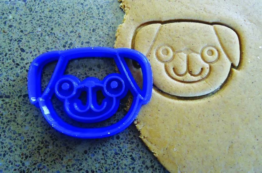 3D Printed Pug Dog Cookie Cutter