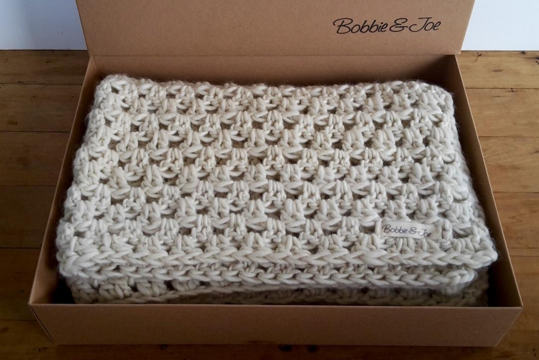 Wool Blend Chunky Crochet Blanket Natural Felt