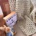 Wool Blend Chunky Crochet Blanket - Natural
