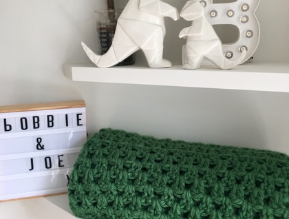 Wool Blend Chunky Crochet Blanket - Green