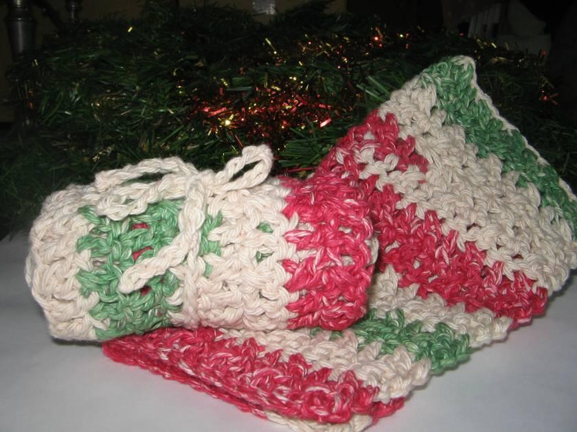 Christmas Cotton Crochet Wash Cloths