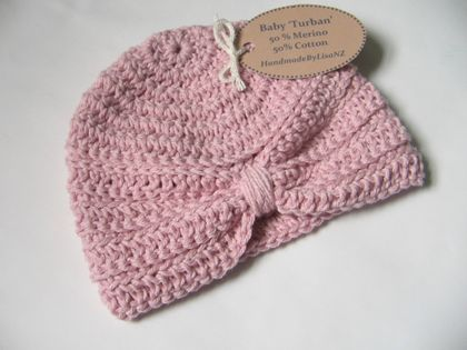 Baby Turban, newborn, merino/cotton, powder pink