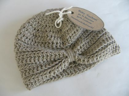 Baby Turban, 3-6mths, merino/cotton, beige