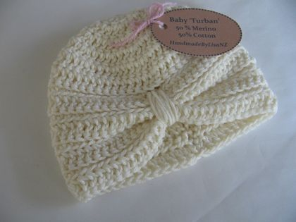 Baby Turban, newborn, merino/cotton, white
