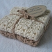 Crochet Cotton Wash Cloths, natural/beige