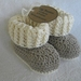 Crochet 'Ugg' Booties, merino/cotton, brown