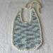 Crochet Bib 100% cotton, light blue/denim