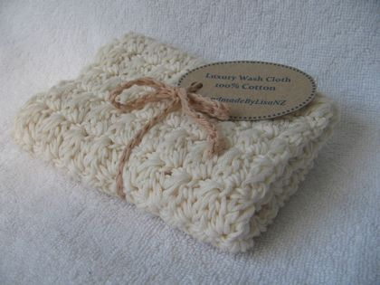 Luxury Crochet Wash Cloth, natural