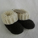 Crochet 'Ugg' Booties, merino/cotton, dark brown