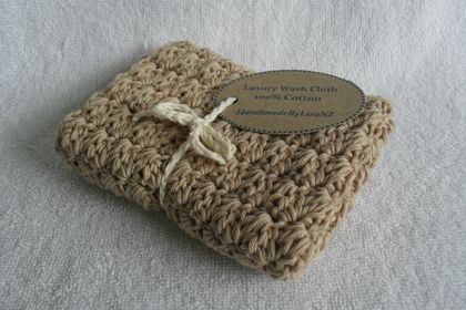Luxury Crochet Wash Cloth, beige