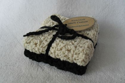 Crochet Cotton Wash Cloths, natural/black