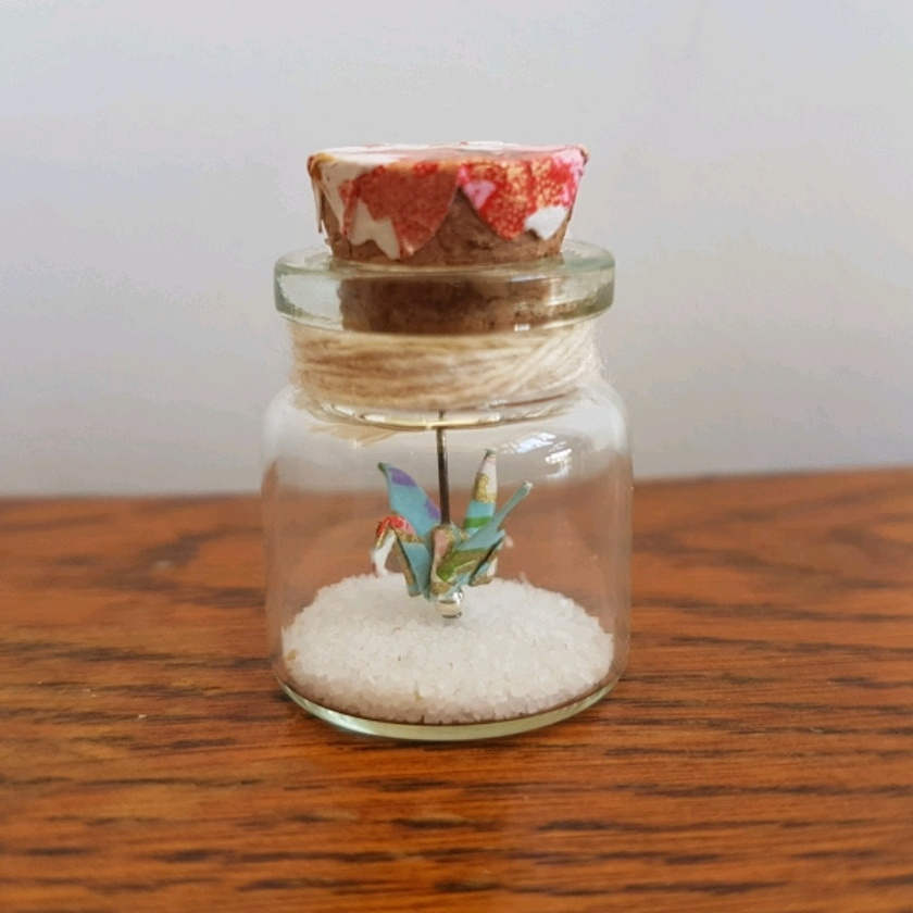 Little crane in a bottle~ miniature origami crane. colours of spring