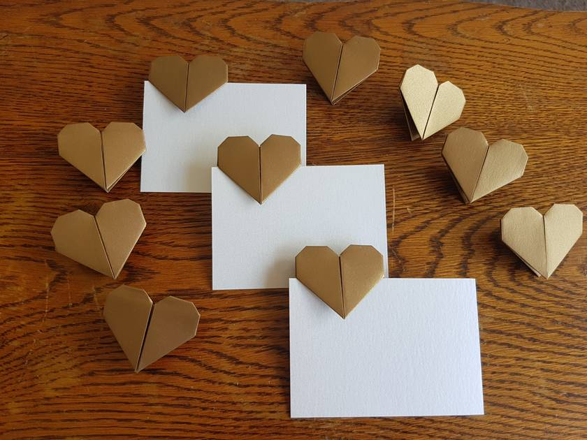 Set Of 10 Origami Heart With Blank Place Cards Felt