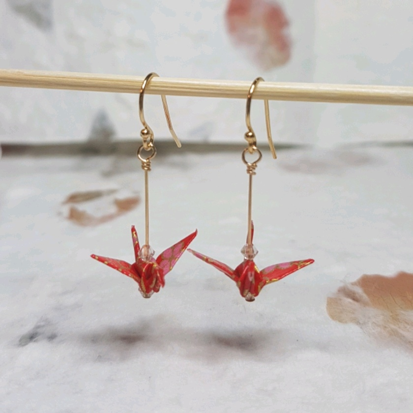 Origami crane  Earrings - Sakura II