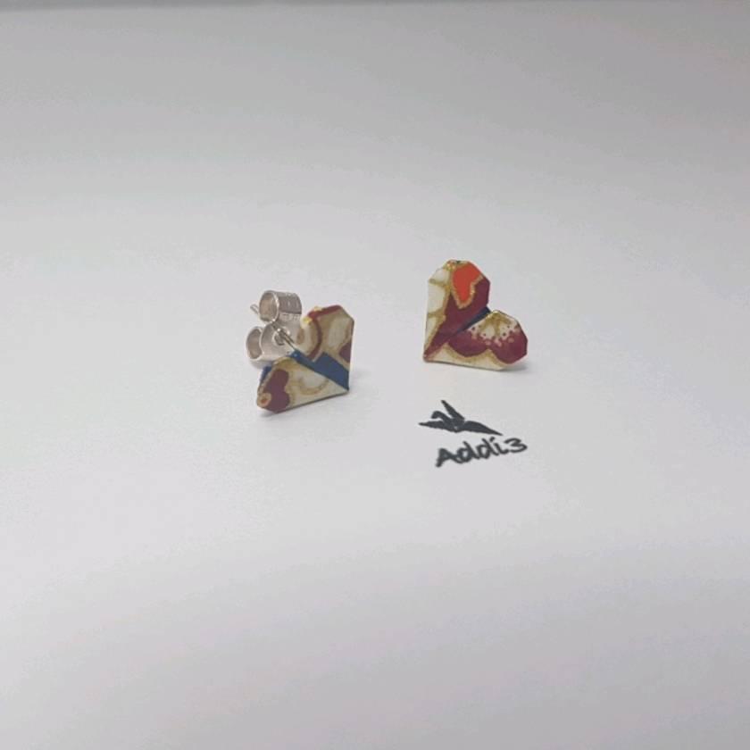 SALE Origami heart stud earrings